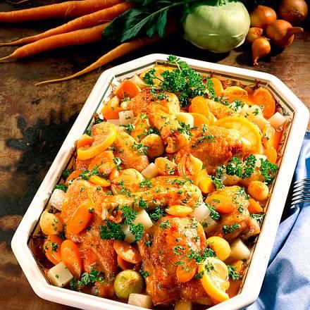 Geschmortes Gemüse- Hähnchen Rezept