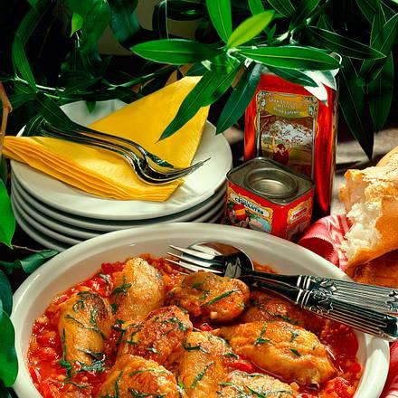 Geschmortes Hähnchen mit Paprika Rezept