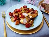 Geschmortes Mandel-Hähnchen mit Kürbis und Kirschtomaten Rezept