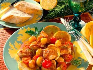 Geschmortes Zitronenhähnchen mit Schalotten und Kirschtomaten Rezept