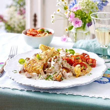 Geschnetzeltes Züricher Art mit Ofen-Tomatensalat Rezept