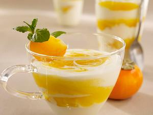 Gestrudelte Kaki-Joghurt-Mousse Rezept