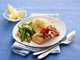 Ginger Honey Salmon with Green Beans Almondine and Whole wheat couscous Rezept