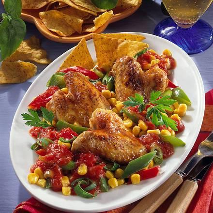 Glasierte Hähnchenflügel mit feurigem Gemüse Rezept