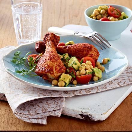 Glasierte Hähnchenkeulen auf Kichererbsen-Salat Rezept