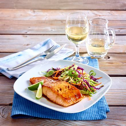 Glasierter Lachs mit asiatischem Kohlsalat Rezept