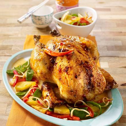 Glasiertes Hähnchen mit süß-scharfem Asia-Gemüse Rezept