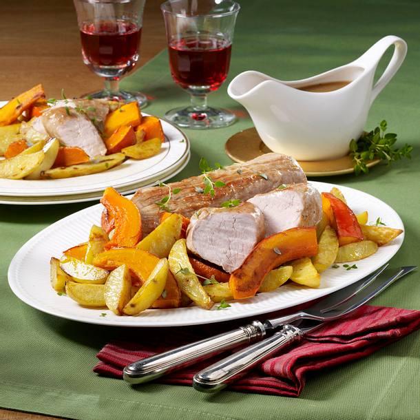 Glasiertes Schweinefilet mit Kürbis-Gemüse Rezept
