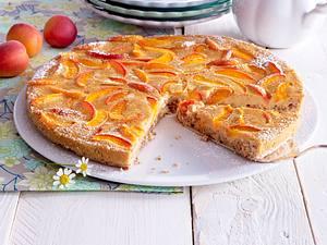 Glutenfreie Aprikosen-Tarte mit Karamell-Verzierung Rezept