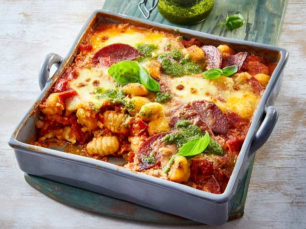 "Gnocchi-Auflauf ""Tomate-Mozzarella"" Rezept"