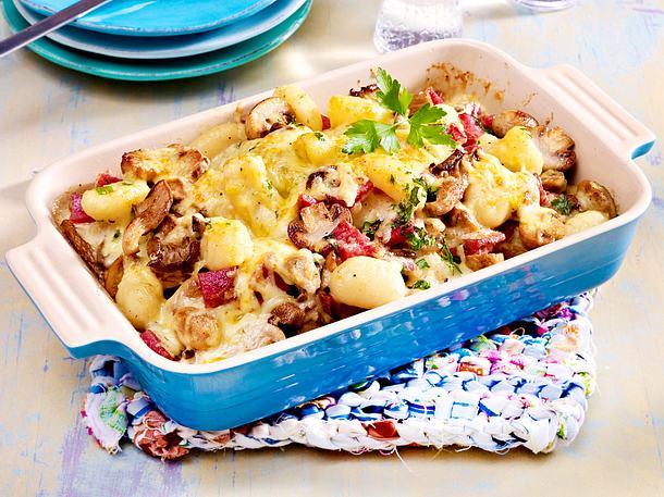 Gnocchi-Pilz-Auflauf mit Salami Rezept