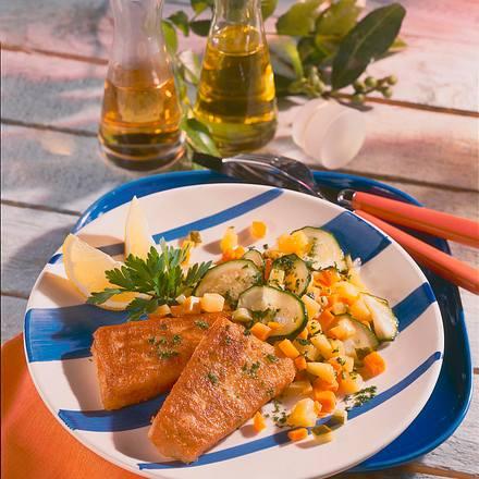 Goldbarschfilet und Salat Rezept