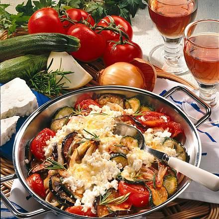 Gratinierte Gemüsepfanne mit Schafskäse Rezept