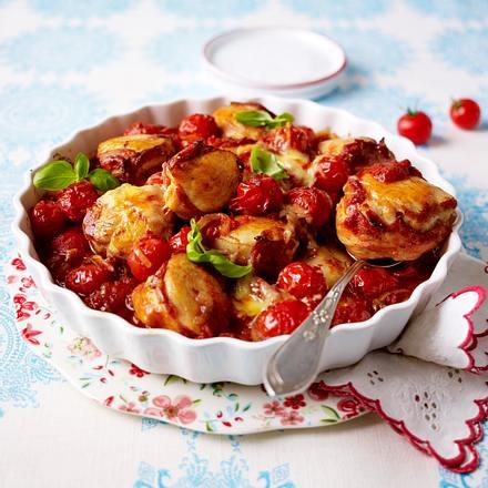 Gratinierte Hähnchenmedaillons in Tomatensoße Rezept