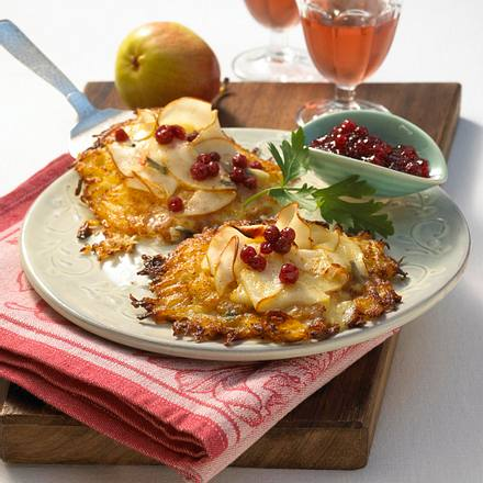 Gratinierte Käse-Birnen-Puffer Rezept