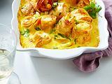 Gratinierte Lachs-Spargel-Crespelle mit Orangen-Hollandaise Rezept
