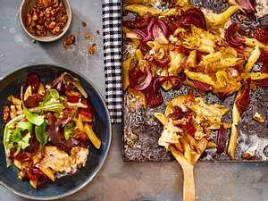 Gratinierte Paprika-Pasta mit mega Honig-Nüssen Rezept