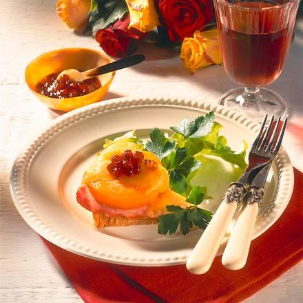 Gratinierte Pfirsich-Toasts Rezept