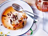 Gratinierte Pfirsiche mit Honig und Nusseis Rezept