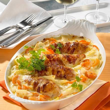 Gratinierte Pouladenbrust auf Kohlrabi-Möhrengemüse Rezept