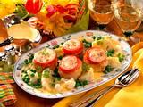 Gratinierte Putenmedaillons mit Tomate und Mozzare Rezept