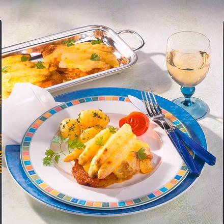 Gratinierte Schnitzel mit Spargel Rezept