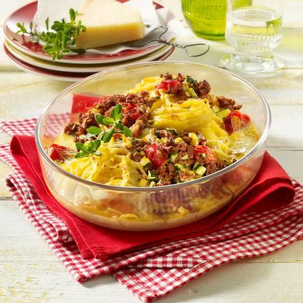 Gratinierte Spaghetti mit Hack und Gemüse Rezept