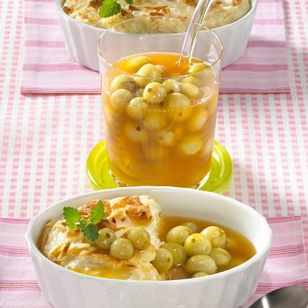 Gratinierter Milch-Mandel-Reis mit Stachelbeersoße Rezept