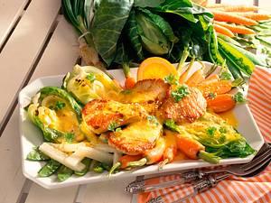 Gratiniertes Gemüse zu Putensteaks Rezept