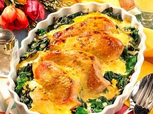 Gratiniertes Hähnchenfilet auf Blattspinat Rezept