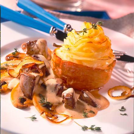 Gratiniertes Kartoffelpüree im Bratapfel zu Geflügel Rezept