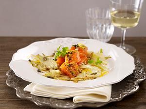 Graved Lachs auf gebratenem Fenchel-Carpaccio Rezept