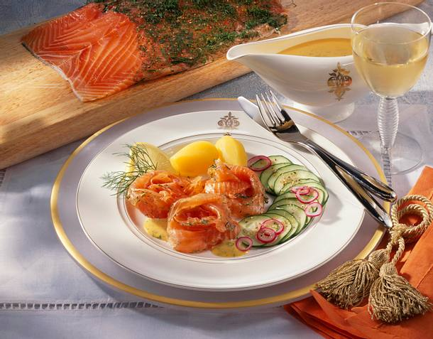 Graved Lachs mit Dill-Senf-Sauce Rezept