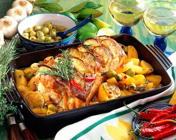 Griechischer Kotelettbraten mit Oliven und Limetten Rezept