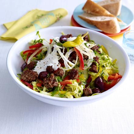 Griechischer Krautsalat mit Gyros-Hack Rezept