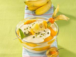 Grießbrei mit Mango und tropischen Früchten Rezept