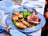 Grillfreunde-Entrecote mit Turbo-Steakbutter und Smashed Potatoes Rezept