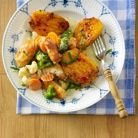 Grillkartoffeln zu Hähnchen-Gemüsepfanne Rezept