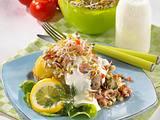 Große Kartoffel mit Krabben-Sprossen-Salat Rezept