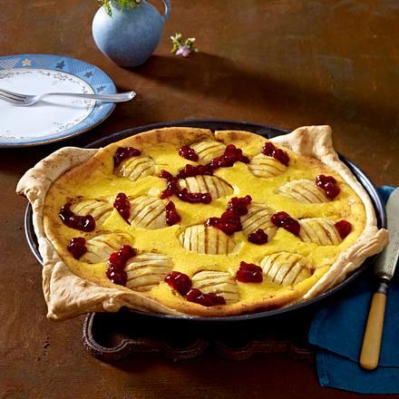 Große Pastéis-de-Nata mit Äpfeln und Preiselbeeren (Puddingtorte) Rezept