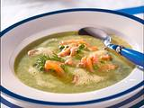 Grüne Erbsensuppe mit Krabben Rezept