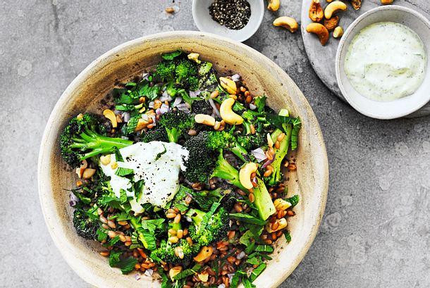 Grüner Flitzer: Brokkolisalat mit Dinkel Rezept