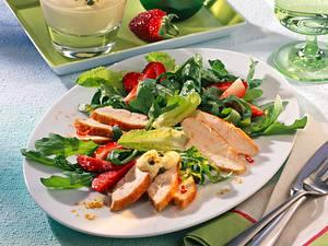 Grüner Salat mit Chili-Hähnchen Rezept