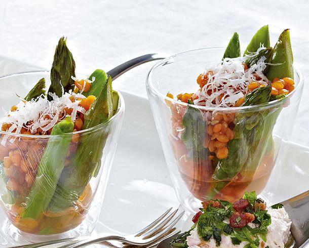 Grüner Spargel mit Linsen-Vinaigrette Rezept