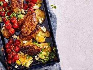 Grünkern-Bifteki mit Quetsch-Kartoffeln Rezept