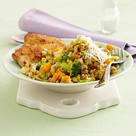 Grünkernrisotto mit Brokkoli und Putenschnitzel