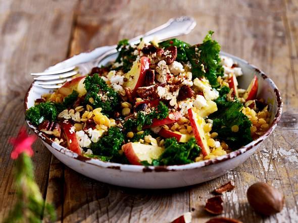Grünkohl-Linsen-Salat mit Dukkah Rezept