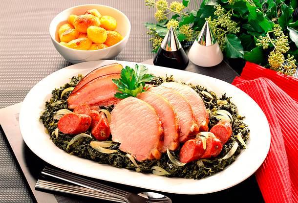 Grünkohl mit Kasseler und Schweinebacke Rezept