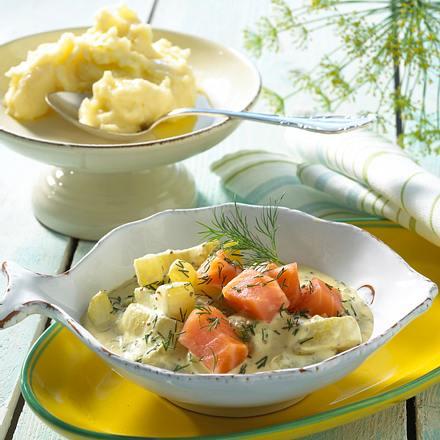 Gurken-Lachs-Pfanne mit Senfsoße Rezept