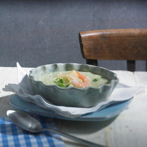 Gurken-Melonen-Suppe mit Shrimps Rezept